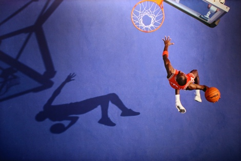 Michael Jordan, Blue Dunk, Lisle, IL, 1987
